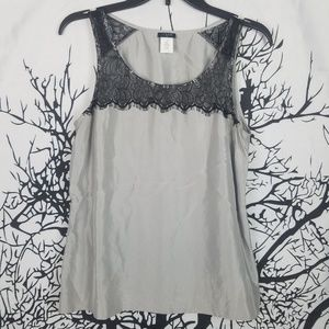 J. Crew | Sleeveless Blouse Silver & Black Lace  4